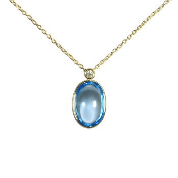Cabochon Blue Topaz and Diamond Necklace