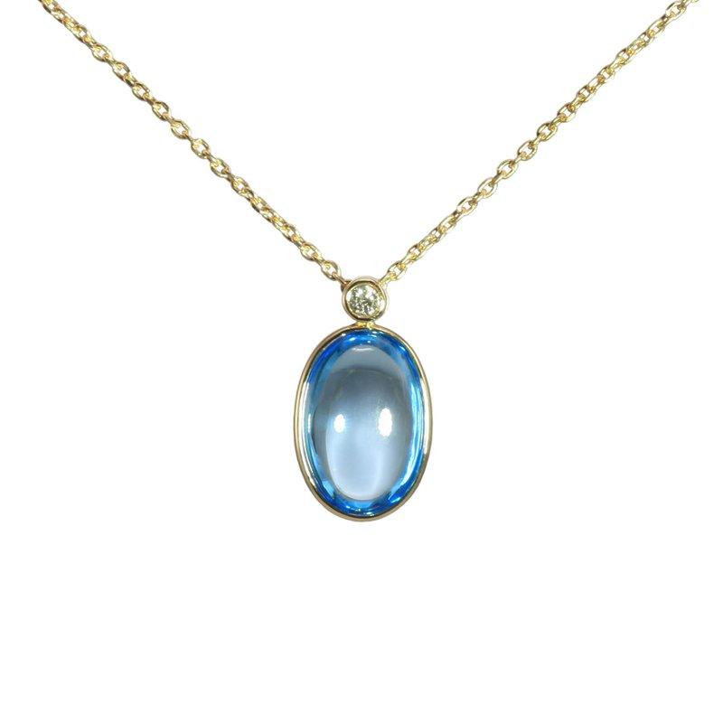 Cabochon Blue Topaz and Diamond Necklace