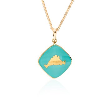 Martha's Vineyard turquoise layered pendant