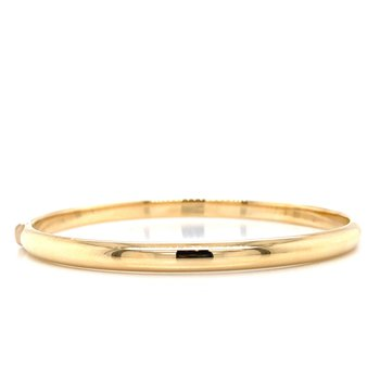 14K Domed Hinged Bangle Bracelet