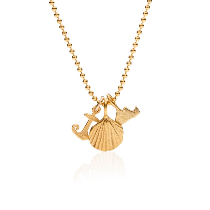 Mini Charm Necklace with Martha's Vineyard, Scallop and Anchor in vermeil