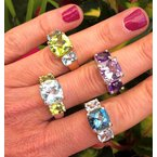 Gemstone Wave Collection Three Stone Ring with Green Amethyst and Amethyst