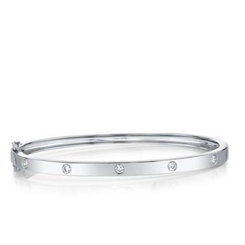 Diamond Station Bangle Bracelet