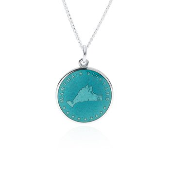 Martha's Vineyard teal pendant