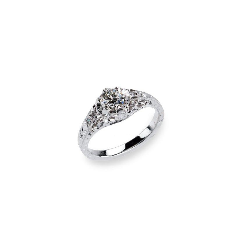 Platinum Hand Engraved Diamond Engagement Ring