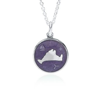 """Out at Sea"" Purple Enamel Martha's Vineyard Pendant"