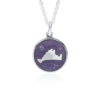 """Out at Sea"" Purple Enamel Martha's Vineyard Pendant"