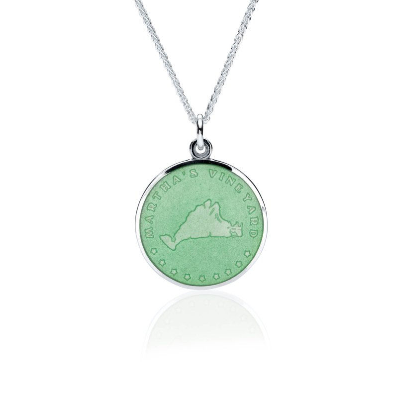 Martha's Vineyard light green enamel pendant