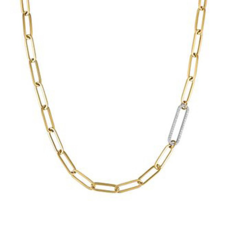 14K Paperclip Link Necklace with Diamond Link