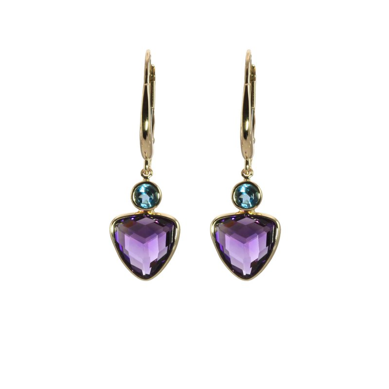 Amethyst and London Blue Topaz Drop Earrings