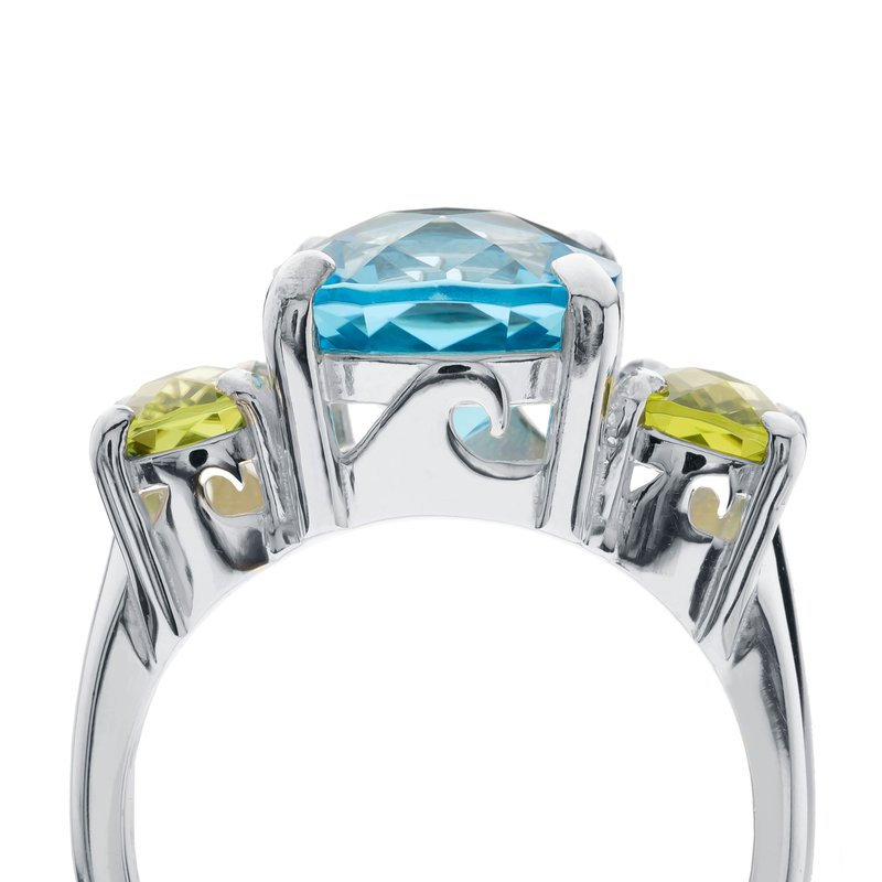Gemstone Wave Collection Three Stone Ring with Blue Topaz and Peridot