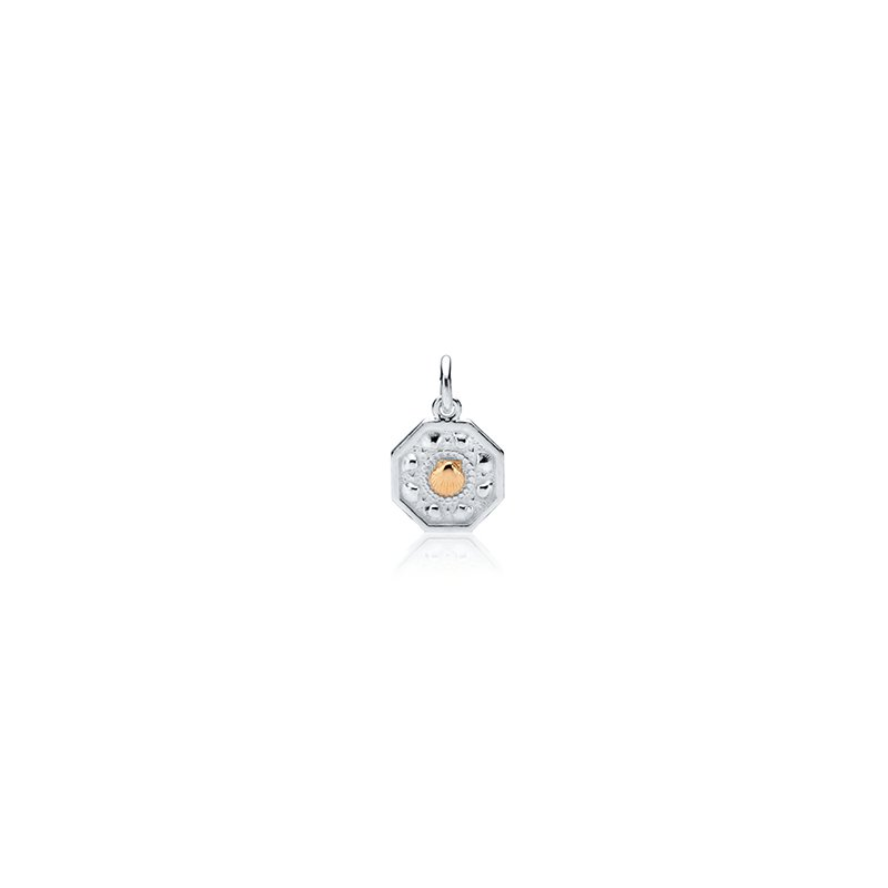 Tiny Sailor's Valentine charm with 14k gold scallop