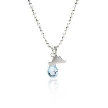 Mini Martha's Vineyard necklace with blue topaz briolette