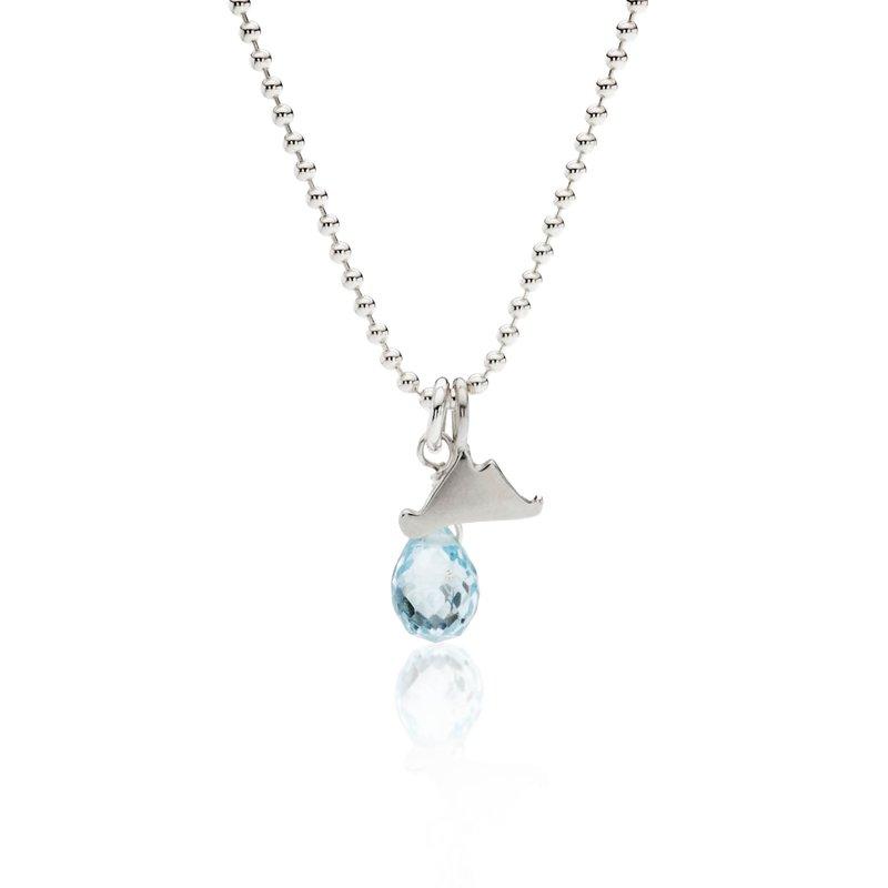 Mini Martha's Vineyard necklace with blue topaz briolette