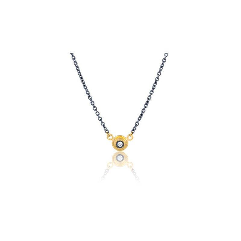 """Lika Behar """"Krista"""" gray diamond bezel necklace"""