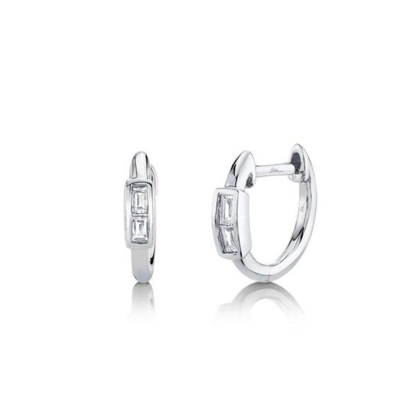 Diamond Baguette Huggie Earrings