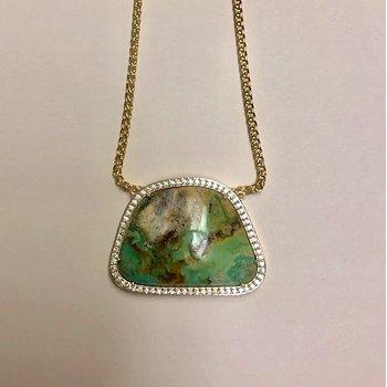 Turquoise / Diamond Slab Pendant
