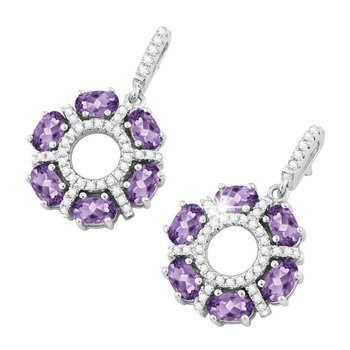 - Bellissima Sterling Silver 2.52ctw. Oval Amethyst and 0.83ctw. White Topaz Gemstones Earring Pair