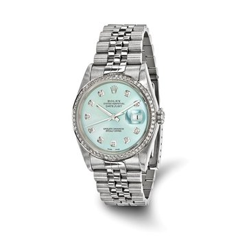 : Pre-Owned Independently Certified Rolex Gents Datejust Two-Tone Steel/18k with Diamond Ice Blue Dial, Diamond Bezel, and Jubilee Band