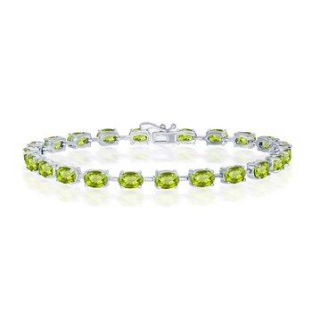 """- Sterling Silver Peridot Oval Gemstone Link Tennis Bracelet - 7.50"""""""