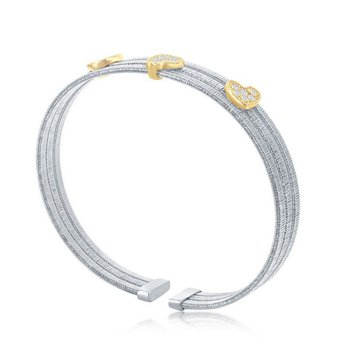 - Italian Collection CZ Stones Sterling Silver w/14k Gold Plated Hearts Triple Wire Bangle Cuff Bracelet