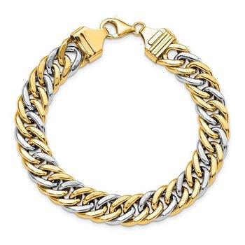 "14k Two-Tone Gold 10.4mm Fancy Curb Link Chain Bracelet - 8"""