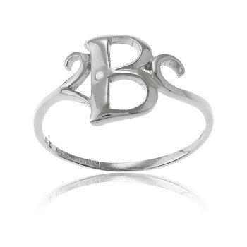 Sterling Silver Round CZ Letter Initial Ring