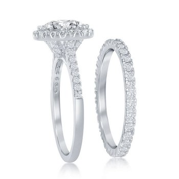 - Sterling Silver Set with CZ Stones Halo Accented Wedding and Engagment Ring Set
