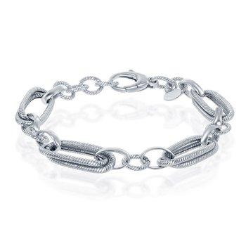 "- Bella Moda Sterling Silver Oval Rope Design & Round Link Chain Bracelet - 8"""
