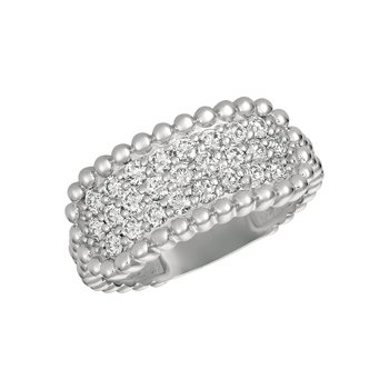 14k Gold 0.75ctw. Diamond 3-Row Beaded Rectangle Top Cocktail Anniversary Ring