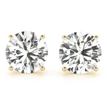Natural Diamond OR Lab-Grown Diamond Round 4-Prong Stud 14k Gold Earrings Pair