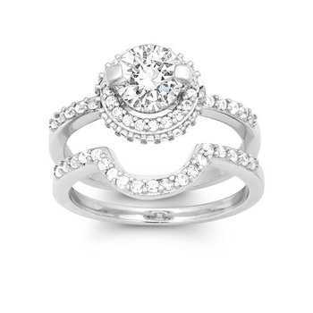 Sterling Silver Round CZ Halo Accented Wedding Band and Engagement Ring Set