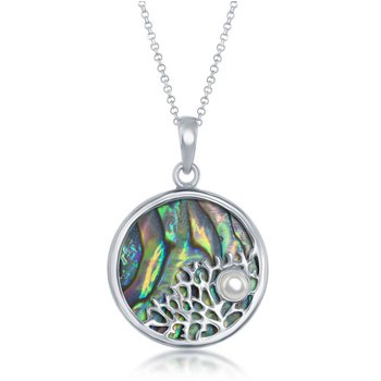 - Sterling Silver Abalone Sealife with Small Pearl Round Pendant with Chain