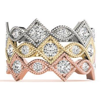 3/8ctw. Diamond Anniversary Wedding Stackable Milgrain Ring Band