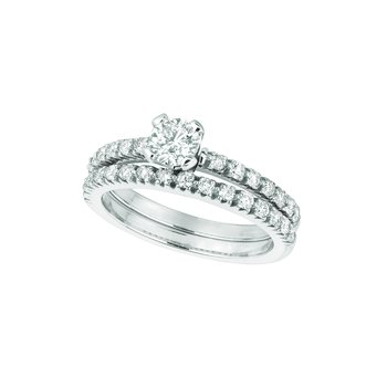 14K White Gold 1.13ctw. Diamond Solitaire Accented Anniversary Engagement Wedding Ring Set