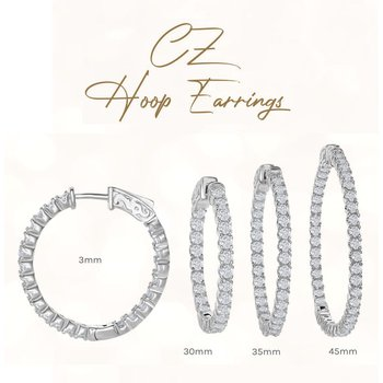 Sterling Silver 3mm Wide Inside-Out CZ Hinged Hoop Earrings