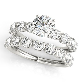 Round Accented Diamond Engagement Ring and Wedding Band