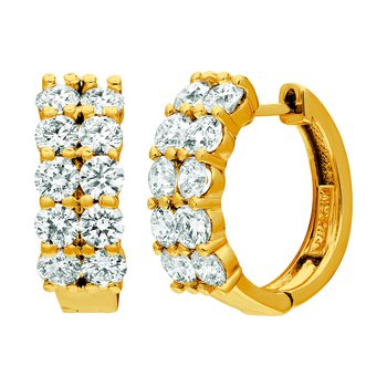 14K Gold Diamond 2-Row Huggie/Huggy Hoop Earrings