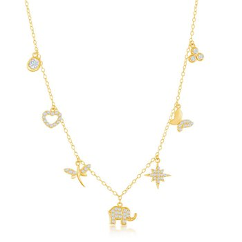 Sterling Silver Heart Dragonfly Elephant Star Butterfly Cluster CZ Chain Necklace