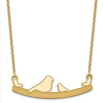 "14k Gold 48x10mm Child Bird Family Heart with 18"" x 1mm Chain Necklace"