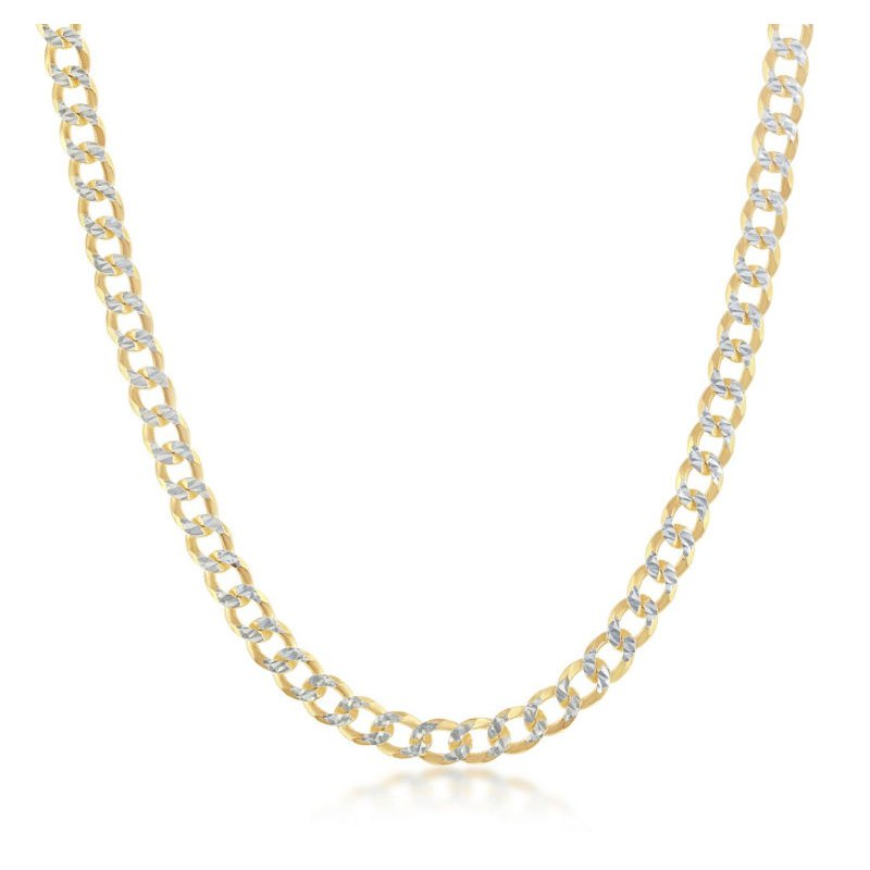 Fashion Jewelry Collection  - Sterling Silver Two-Tone 14k Yellow Gold Plated 4.2mm Cuban Pave Chain Necklace