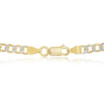 - Sterling Silver Two-Tone 14k Yellow Gold Plated 4.2mm Cuban Pave Chain Necklace
