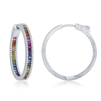 Sterling Silver Multi-Color Rainbow Round CZ Inside/Out Hinged Hoop Earring Pair