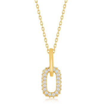 Sterling Silver Micro Pave CZ Stones Paper Clip Style Oval Link Pendant Chain Necklace