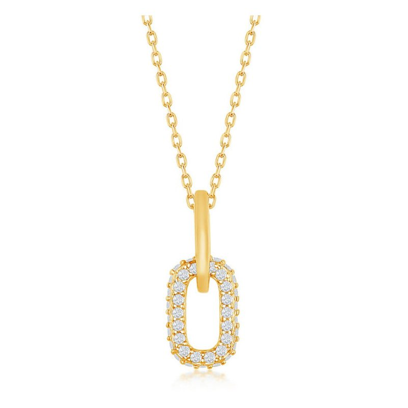 Fashion Jewelry Collection Sterling Silver Micro Pave CZ Stones Paper Clip Style Oval Link Pendant Chain Necklace