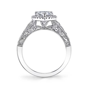 - Modern Vintage Halo Pear-Shaped Diamond Accented Semi-Mount Engagement Ring & Wedding Band