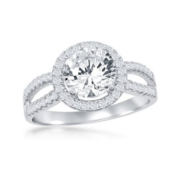 Sterling Silver Round CZ Halo Split Shank Engagement Ring