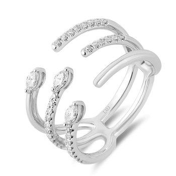 - 14k White Gold Diamond Fancy Spiral Snake Negative Space Design Cocktail Ring