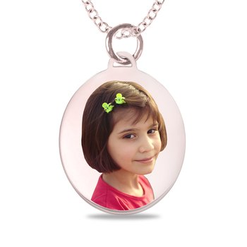 - Small Oval Laser Enameled 17x24mm Customized Engravable Photo Picture Pendant
