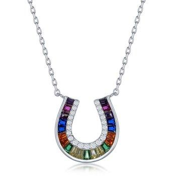 Sterling Silver Baguette Rainbow CZ Horseshoe Chain Necklace